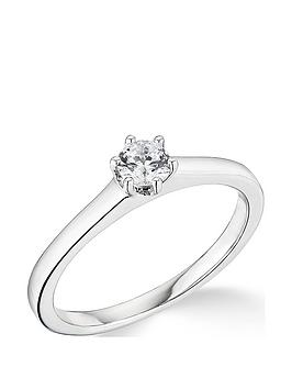 Very  9K White Gold 0.25Ct Diamond 6 Claw Solitaire Ring