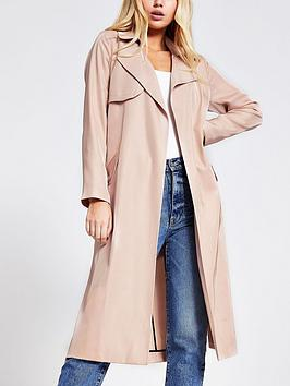 River Island River Island Belted Trench Coat - Light Pink Picture