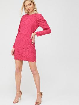 River Island River Island Rouched Sleeve Broderie Mini Dress - Pink Picture