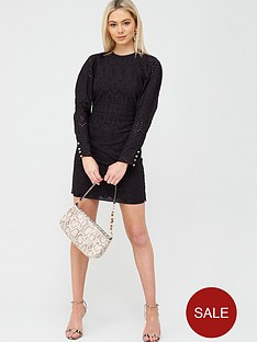 river-island-ruched-sleeve-broderie-mini-dress-black
