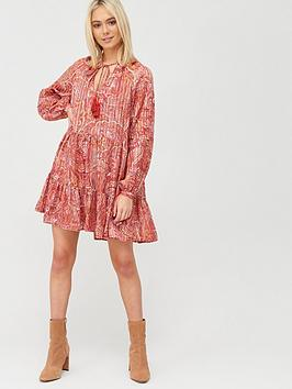 River Island River Island Printed Tie Neck Smock Dress - Red Picture