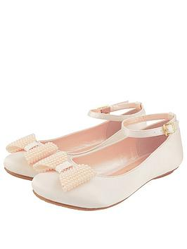 Monsoon Monsoon Girls Pearl Bow Satin Ballerina Shoe - Champagne Picture