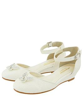 Monsoon Monsoon Girls Elliana Ivory Butterfly 2 Part Wedge Shoes - Ivory Picture