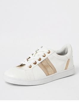 River Island River Island Wide Fit Side Stripe Trainer - Gold Picture