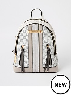 river-island-river-island-checkerboard-small-backpack-light-grey