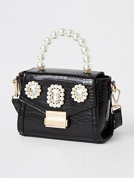 River Island River Island Mini Pearl Embellished Handbag - Black Picture