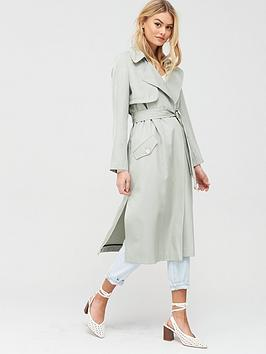 River Island River Island Belted Trench Coat - Green Picture