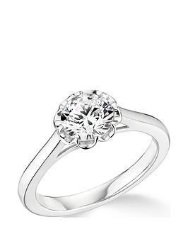 Very 9Ct White Gold 1Ct Diamond 8 Petal Star Design Solitaire Ring Picture