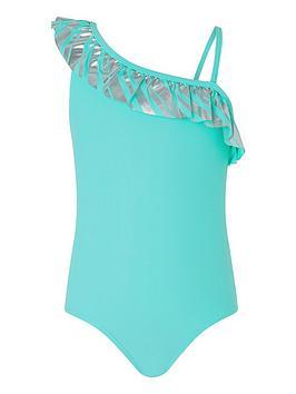 Monsoon Monsoon Girls Malibu Stripe Frill Swimsuit - Turquoise Picture
