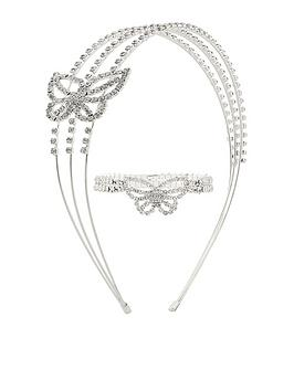 Monsoon Monsoon Girls Diamante Butterfly Stretch Bracelet And Hairband -  ... Picture
