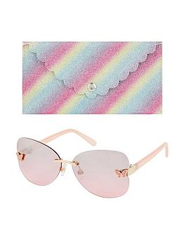 Monsoon   Girls Rimless Butterfly Sunglasses With Case - Multi