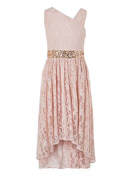 Monsoon Monsoon Girls Abigail Lace One Shoulder Prom Dress - Pink Picture