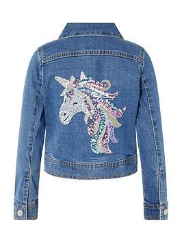 Monsoon Monsoon Girls Elouise Unicorn Sequin Denim Jacket - Blue Picture