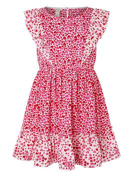 Monsoon Monsoon Girls Aria Heart Dress - Red Picture