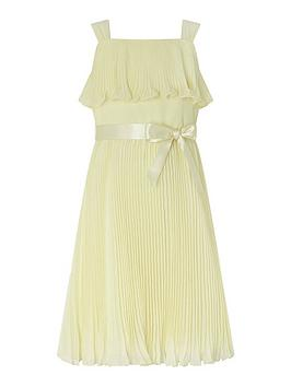 Monsoon Monsoon Girls S.E.W Italia Pleat Dress - Lemon Picture
