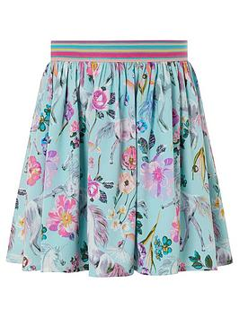 Monsoon Monsoon Girls S.E.W Armelle Unicorn Print Skirt - Aqua Picture
