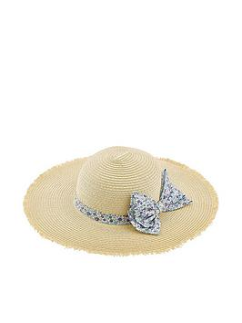 Monsoon   Girls Lisa Ditsy Bow Floppy Hat - Natural