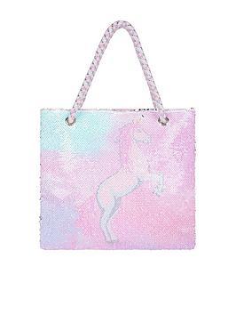 Monsoon Monsoon Girls Ellie Unicorn Sequin Shopper Bag - Multi Picture