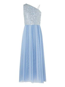 Monsoon Monsoon Girls Eilish 1 Shoulder Prom Dress - Pale Blue Picture