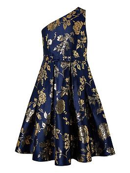 Monsoon Monsoon Girls Connie 1 Shoulder Jacquard Prom Dress - Navy Picture
