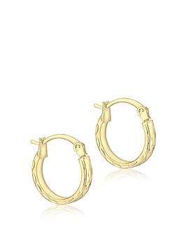 Love GOLD Love Gold 9Ct Gold 10Mm Pine Hoop Earrings Picture