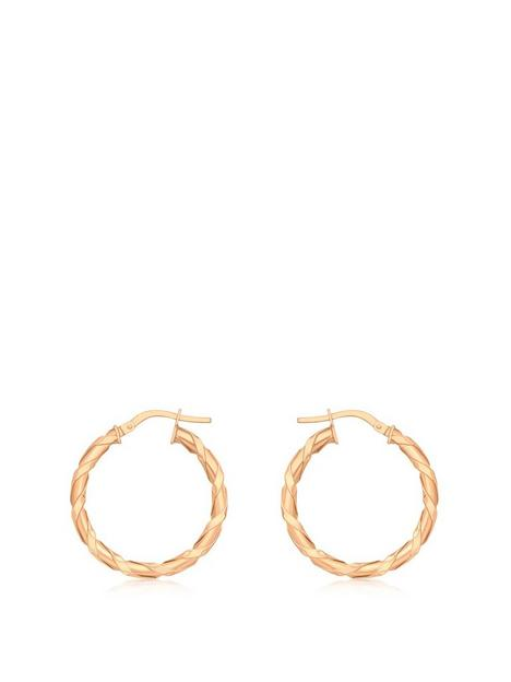 love-gold-9ct-rose-gold-flat-twist-hoop-earrings