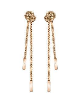 Boss Boss Boss Rosette Gold Plated Stainless Steel Mesh Long Knot Earrings Picture