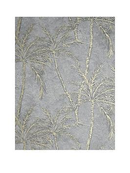 ARTHOUSE Arthouse Metallic Palm Grey & Rose Gold Wallpaper Picture