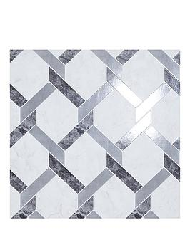 ARTHOUSE Arthouse Interlock Marble Grey & White Gloss Wallpaper Picture