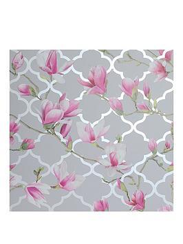 ARTHOUSE Arthouse Magnolia Trellis Grey & Pink Metallic Wallpaper Picture