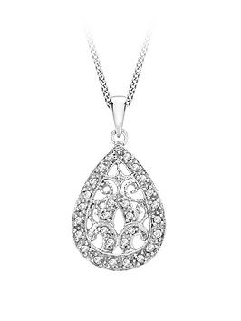 Love GOLD Love Gold 9Ct White Gold Diamond Teardrop Pendant Necklace Picture