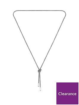 boss-boss-rosette-stainless-steel-mesh-long-knot-necklace