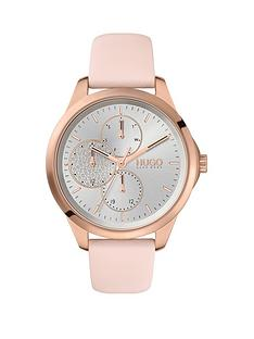 hugo-fearless-multi-pink-leather-strap-white-dial-ladies-watch