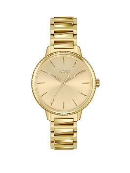 Boss Boss Signature Gold Stainless Steel Crystal Set Bezel Gold Dial  ... Picture