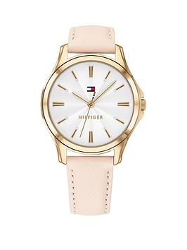 Tommy Hilfiger Tommy Hilfiger Lori Pink Leather Strap White Dial Ladies Watch