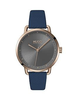 HUGO Hugo Hugo Mellow Blue Leather Strap Gold Ip Case Grey Dial Ladies  ... Picture