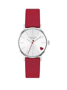 coach-coach-perry-red-leather-strap-28mm-white-sunray-dial-heart-detail-ladies-watch