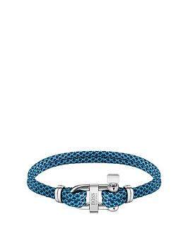 Boss Boss Boss Sailing Cord Blue Stainless Steel D-Ring Bracelet Picture