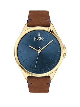 HUGO Hugo Smash Brown Leather Strap Blue Dial Mens Watch Picture