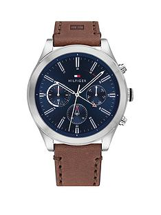 tommy-hilfiger-ashton-brown-leather-strap-navy-sunray-dial-mens-watch