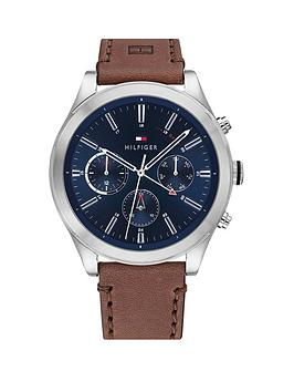 Tommy Hilfiger Tommy Hilfiger Tommy Hilfiger Ashton Brown Leather Strap  ... Picture