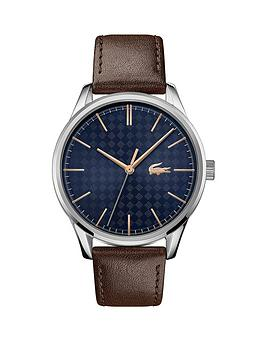 Lacoste Lacoste Vienna Brown Leather Strap Blue Dial Mens Watch Picture
