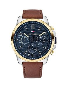 tommy-hilfiger-tommy-hilfiger-decker-brown-leather-strap-navy-dial-watch