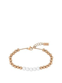 Boss   Beads Gold Plated Chain Bracelet With Ceramic Beads