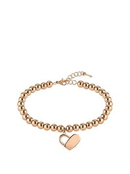 Boss Boss Boss Gold Plated Stainless Steel Beads And Heartlock Bracelet Picture