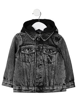River Island Mini River Island Mini Boys Hooded Denim Jacket - Black Picture