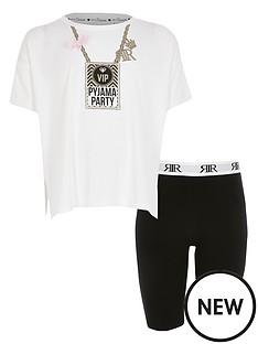 river-island-girls-pyjama-party-cycling-short-lounge-set-white