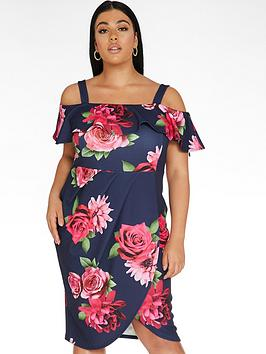 Quiz Curve Quiz Curve Floral Bardot Wrap Dress - Navy/Pink Picture
