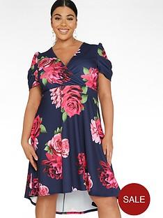 quiz-curve-floral-puff-sleeve-dip-hem-dress-navypinknbsp