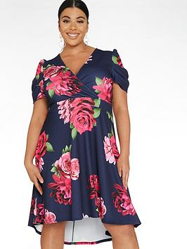 Quiz Curve Quiz Curve Floral Puff Sleeve Dip Hem Dress - Navy/Pink Picture